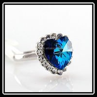 Jofo Brand High Quality Fashion Ocean Blue Crystal Heart Wedding Engagement Rings