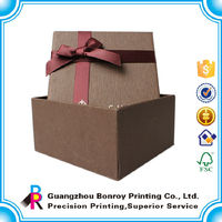 Brown color elegant wedding box gift with ribbon