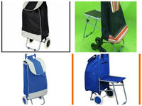 Folding Flatpack Shopping Trolley Cart with Built in SEAT
