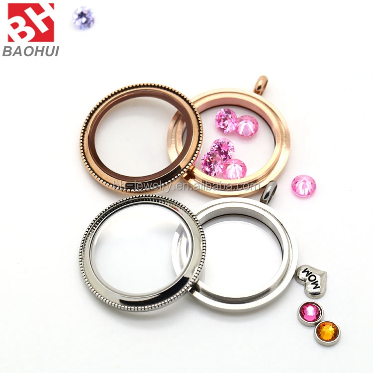 30MM Rose Gold Stainless Steel Round Living Memory Keepsake Glass Beads Locket Pendant