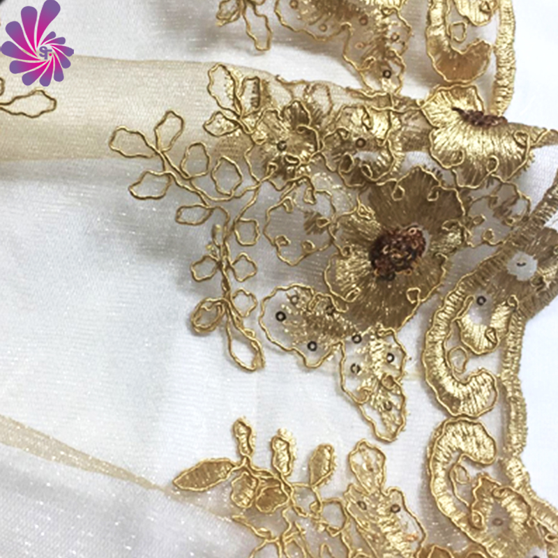 High quality organza wedding embroidery lace fabric for wedding table cloth/dresses/chair sashes