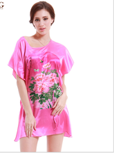 Latest women fashion sleepwear silk summer ladies short sleeve flower design nighegown women silk nighty