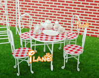 Dollhouse Miniature Garden Dining-table w/ four chairs Outdoor White WG011