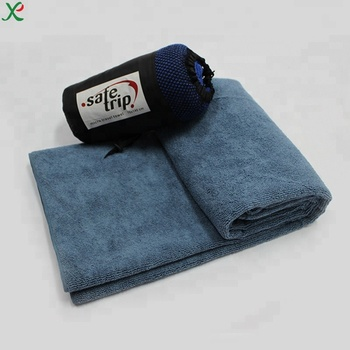Microfiber gym /gift /sport/travel towel with mesh bag