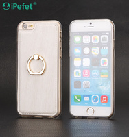 TPU+ Leather Finger Ring Holder Case tpu case cover for iPhone