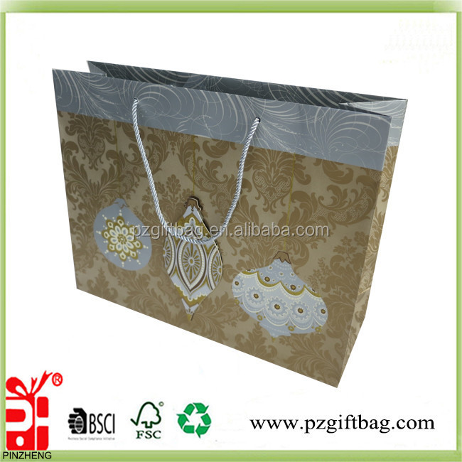 Wholesale christmas designs gift paper bag customized