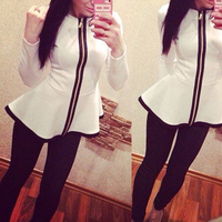 front open zipped sexy ladies white shirt long sleeve t shirts manufacturers china tshirts wholesale AL0085