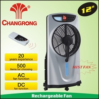 12'' Plastic rechargeable mist fan solar system charge and led lighting