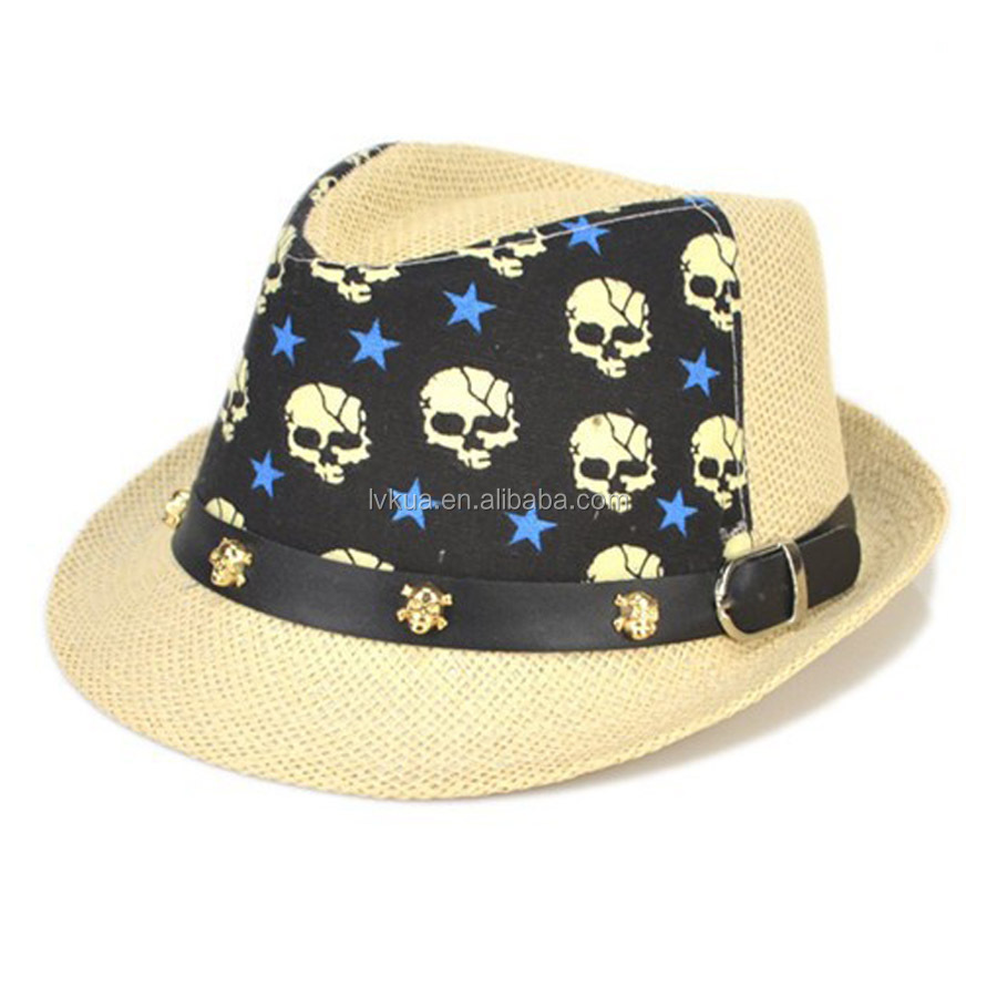 New Arrival Fashionable Joker Jazz Kids Fedora Summer Straw Hat Skull Print Sombreros for 2-6 Years Baby Gilrs Boys