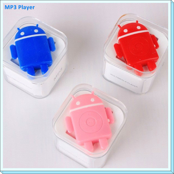 TF Card MP3 Player Android Robot Cartoon Clip MP3 Music Player USB2.0 Walkman MP3 Player