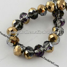 China Wholesale Magnetic Half-plated Crystal Glass Beads Strands(EGLA-R035-8mm-34)