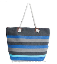 cotton canvas shopping bag, tote bag, beach bag with color stripe