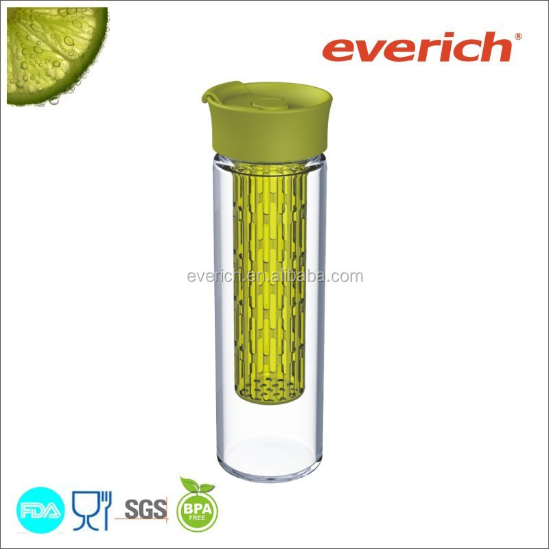 Glass bottle with fruit infuser / 550ml Wholesale High Borosilicate Glass Water Bottle