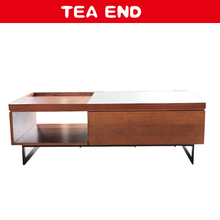 Newest wooden lacquer veener tea table with stone pattern melamine