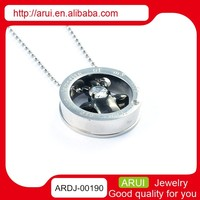 joyas acero inoxidable necklace rolling charm pendant with zircon