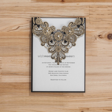Jewelry decorated wedding invitation card with laser cut CW5237 Black
