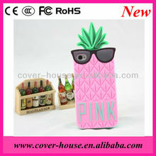 Cute 3D PINK Unique Design Silicon Pineapple Case For iPhone 5