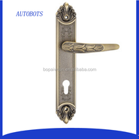 Zinc alloy wooden door handle with factory price of pull handle with short plate