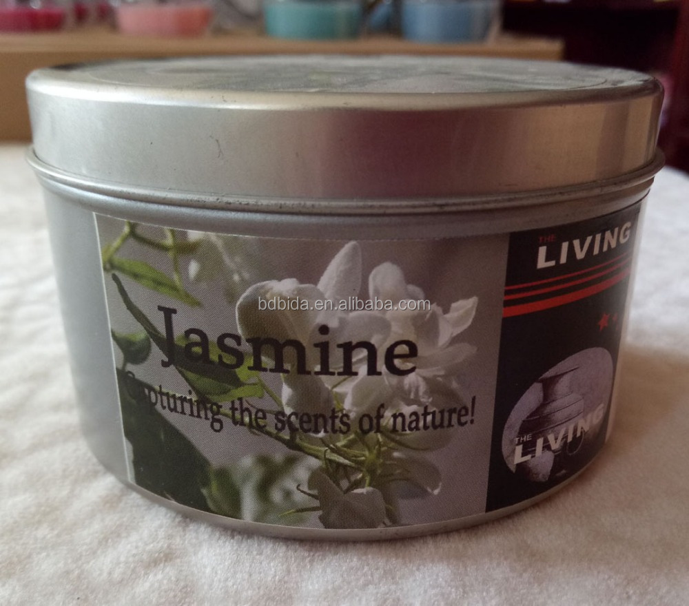 Jasmine scented tin candles in different weight and size for home decoration