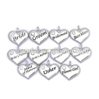 Wholesale custom letters crystal heart shape metal charms