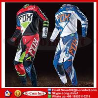 KCM1703 Fox Jersey+pants Race Motocross Suit motorcycle jersey moto clothing set Racing Cross country Tshirt pants