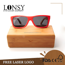 fashion square bamboo eye glass case