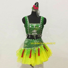 Girl Chinese Folk Dancing Ethnic Minority Dancing Costumes Green Yellow Dress With Pants Asian National Minority Nationality