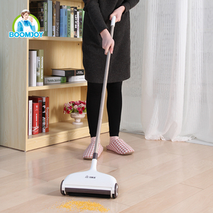 Boomjoy hand push spin broom, sweeper with microfiber cleaning