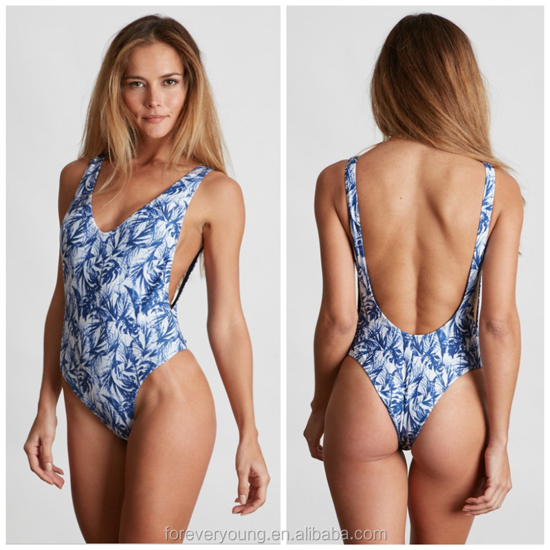 (OEM ODM FACTORY)Wholesale custom made printed Women One Piece thong swimwear/Bathing Suit/ Swimsuit