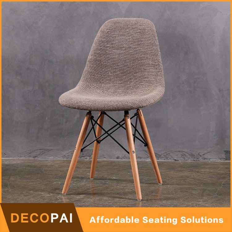 Upholstery wood leg chair with dowel base,seat cushion chair,dining eiffel patchwork armless side dinning chair