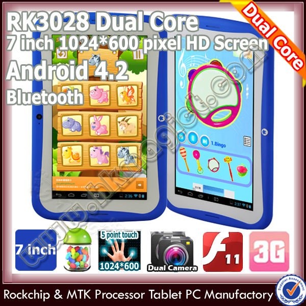 "7"" android 4.2 kids low cost china tablet pc with front and back camera"