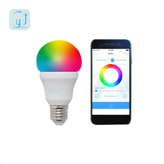 Yidi cellphone control 7w E26 bluetooth RGB color changing led bulb 110v lamp