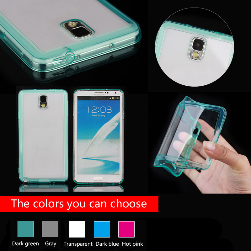 TPU bumper + pc clear case for Samsung note 3 with cable and earphone plug function, for galaxy note 3 bumper case