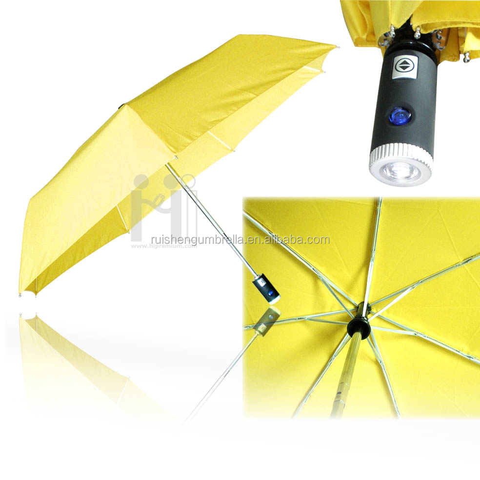 Promotional auto open and close umbrella with light