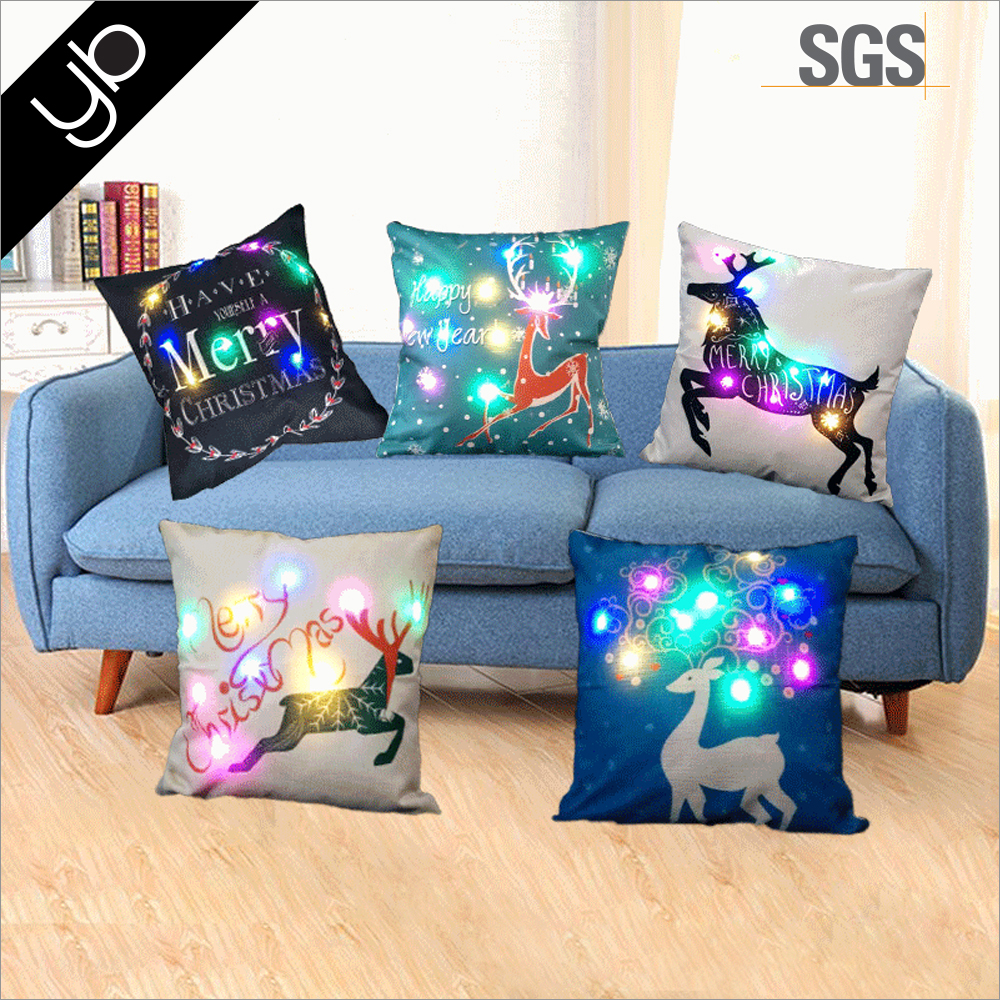 Wholesale Promotion Christmas Decor Printed Light Up Cushion Cover Led Merry Christmas Glow Throw Led Light Pillow Case Cover