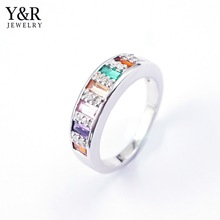 925 sterling silver jewelry wholesale rainbow color stone silver rings jewelry women