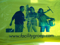 yellow color garbage bag with printing