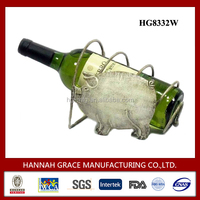 Hot Sale Pig Single Wine Bottle Display Stand For Bar Decor