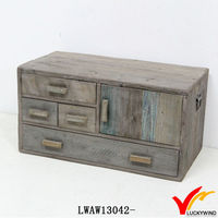 Farm Style Mini Design Shabby Chic Wooden Cabinet for Living Room