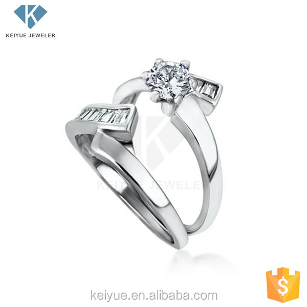 Popular in China Introduction succinct engraved gemstone 925 sun silver ring wedding for couple