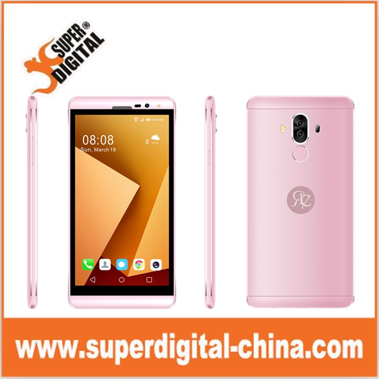 5.5inch 3G MTK6580A Android 6.0 metal smart phone with removable battery and fingerprint