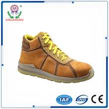 High quality middle cut leather Laced up safety working shoes with flat outsole