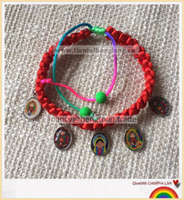 red rope rosary baby virgin Guadalupe bacelet/cord osary bracelet/decenario bracelet for little child