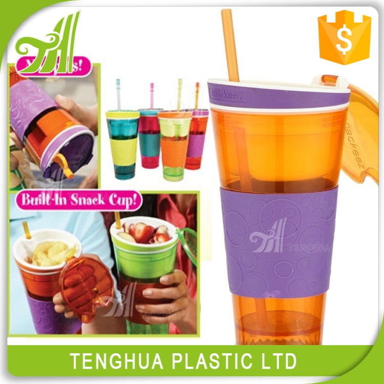 Multi-Function Plastic Drinking And Snack Cup Beverage Bottle With Straw