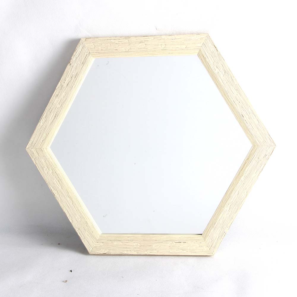 classical design plastic hexagon wall mirror for home decoration