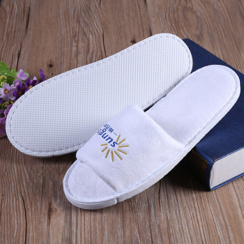 printed Custom Design logo Hotel White terry hotel slipper