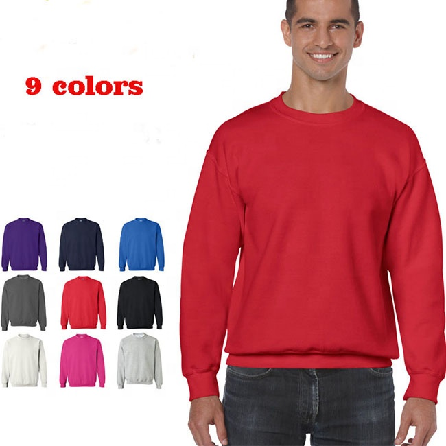 Wholesale 9 colors blank plain customized printed embroidered logo pullover sweater