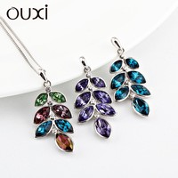lovely colorful crystal necklace silver jewelry,952 silver jewelry
