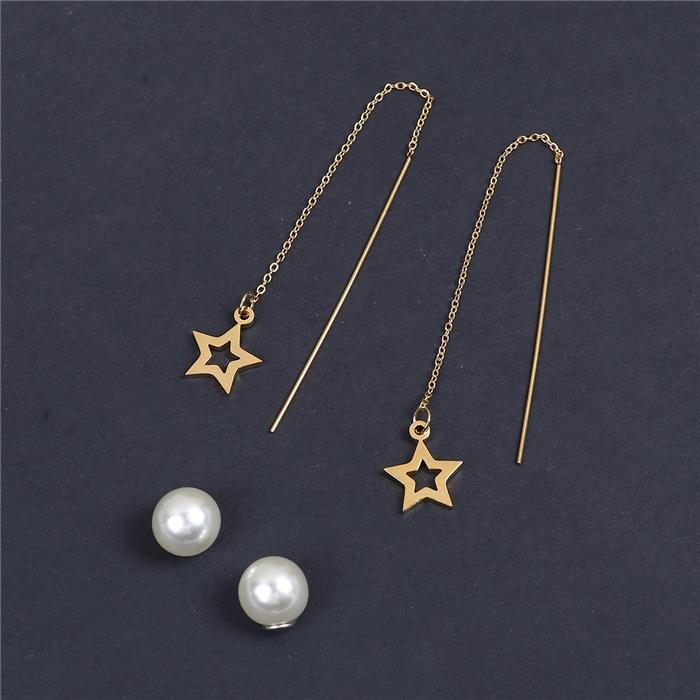 304 Stainless Steel Ear Thread Threader Earring Gold Plated White Pentagram Star Acrylic Imitation Pearl