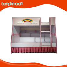 Rainbow Pink wooden kids mini colorful double size bunk bed